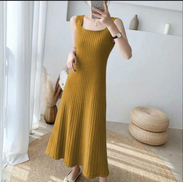 Baju Dress Bahan Rajut Model Lengan Buntung