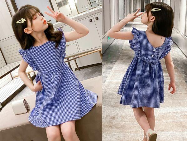 Baju Dress Pendek Anak Bahan Katun Motif Kotak