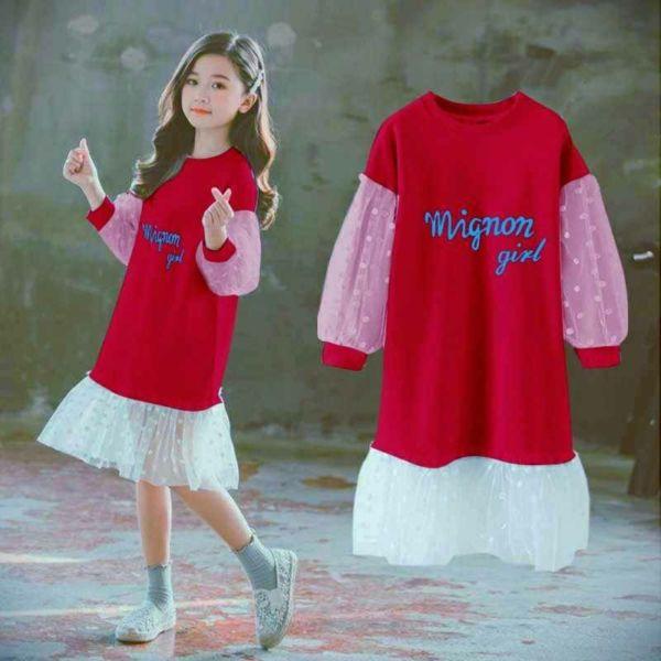 Baju Dress Pendek Anak Kombinasi Tile Polkadot