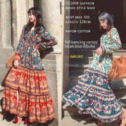 Baju Gamis Long Dress Maxi Katun Rayon Motif
