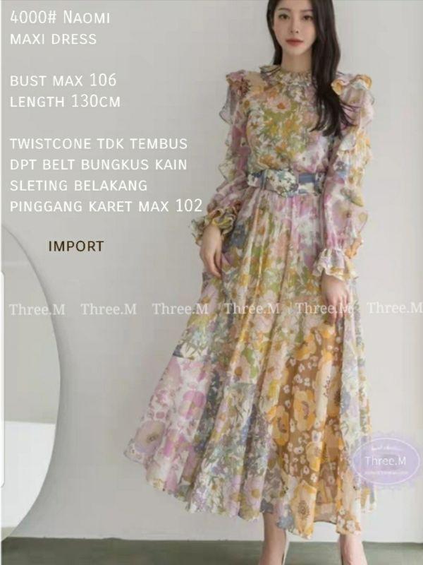 Baju Gamis Long Dress Naomi Maxi Model Korea