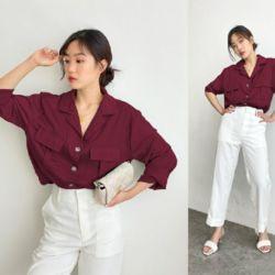 Baju Hem Pocket Besty Wanita Lengan Panjang