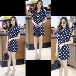 Baju Jumpsuit Pendek Wanita Motif Polkadot Cantik