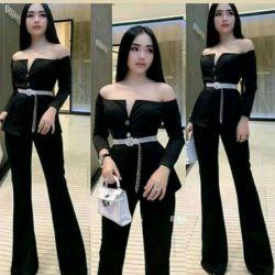 Baju Jumpsuit Scuba Panjang Model Sabrina Terbaru