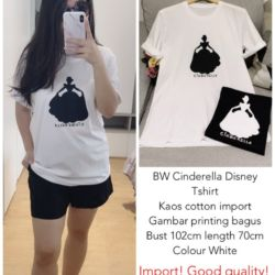 Baju Kaos Lengan Pendek Wanita Gambar Cinderella