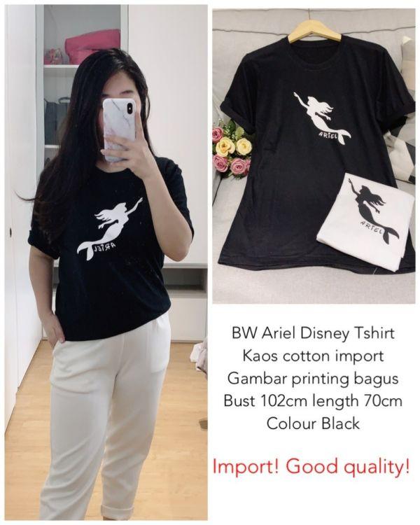 Baju Kaos Lengan Pendek Wanita Gambar Disney Ariel