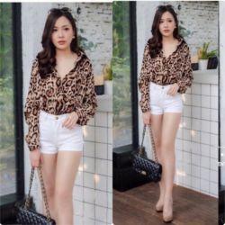 Baju Kemeja Wanita Motif Leopard Bahan Katun Rayon