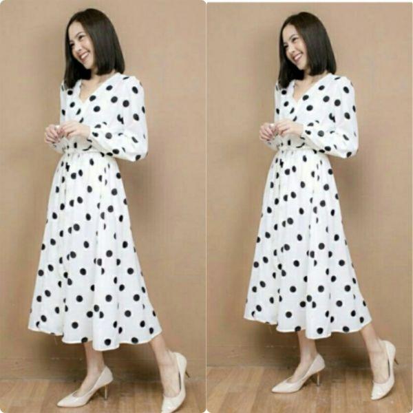 Baju Long Dress Gamis Maxy Polkadot Modern