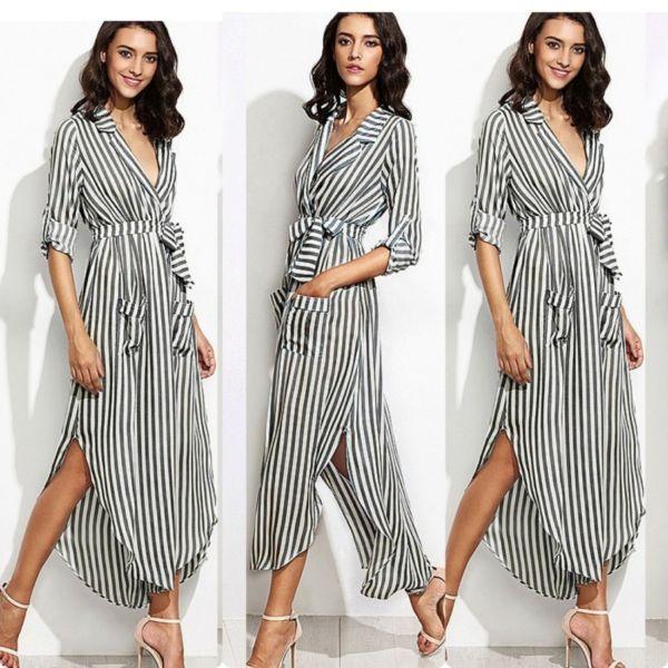 Baju Long Dress Maxy Blazeria Motif Salur Belang