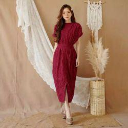 Baju Midi Dress Brukat Cantik Model Terbaru