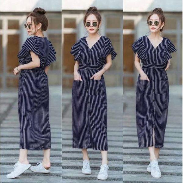 Baju Midi Dress Motif Salur Belang Garis-garis Modern