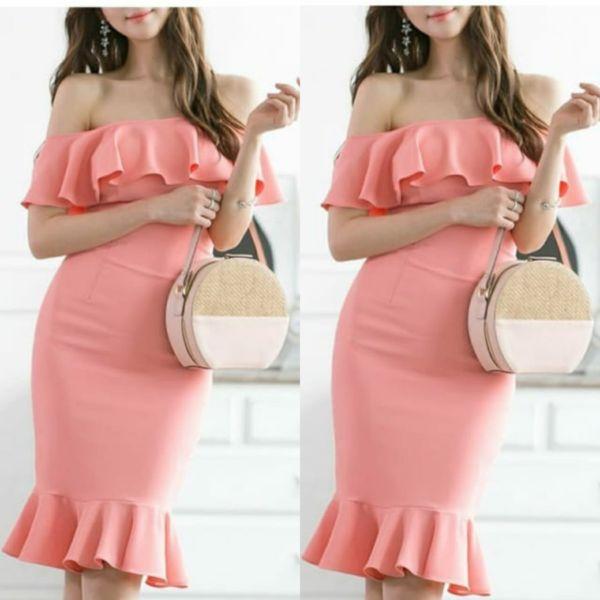 Baju Mini Dress Bahan Scuba Model Sabrina Terbaru