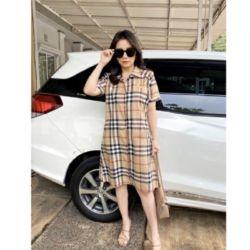 Baju Mini Dress Pendek Katun Motif Burberry