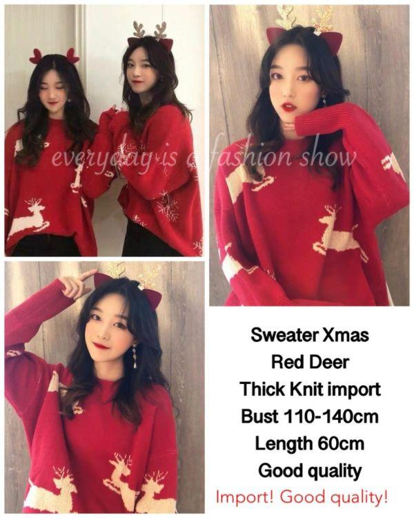 Baju Sweater Christmas Natal Motif Rusa Warna Merah