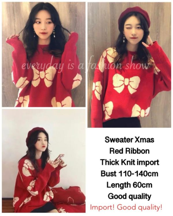 Baju Sweater Christmas Pita Warna Merah Bahan Knit