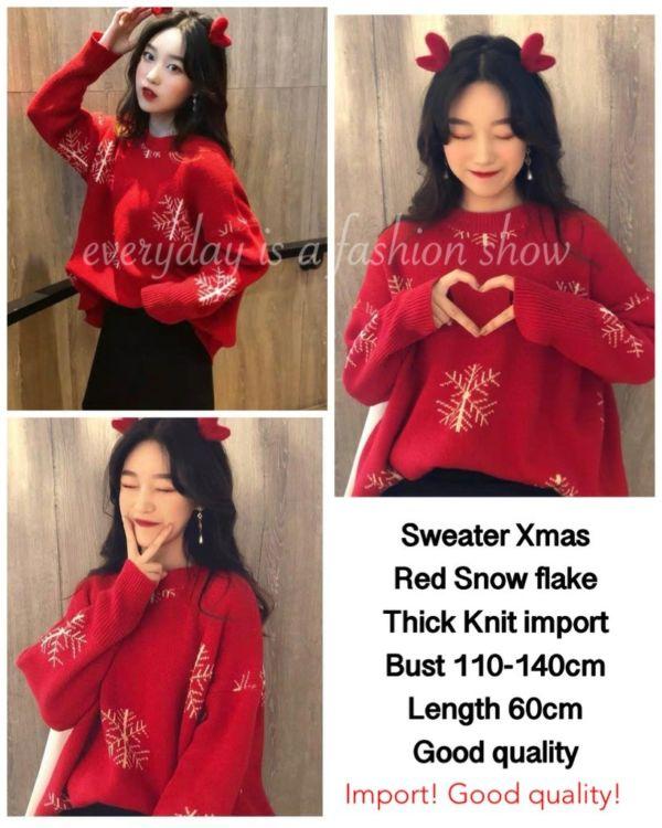 Baju Sweater Wanita Warna Merah Motif Snow Flake