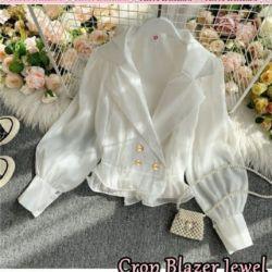 Blazer Crop Pendek Wanita Modern Ala Korea