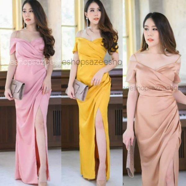 Fashion Baju Long Dress Pesta Slit Belah Samping
