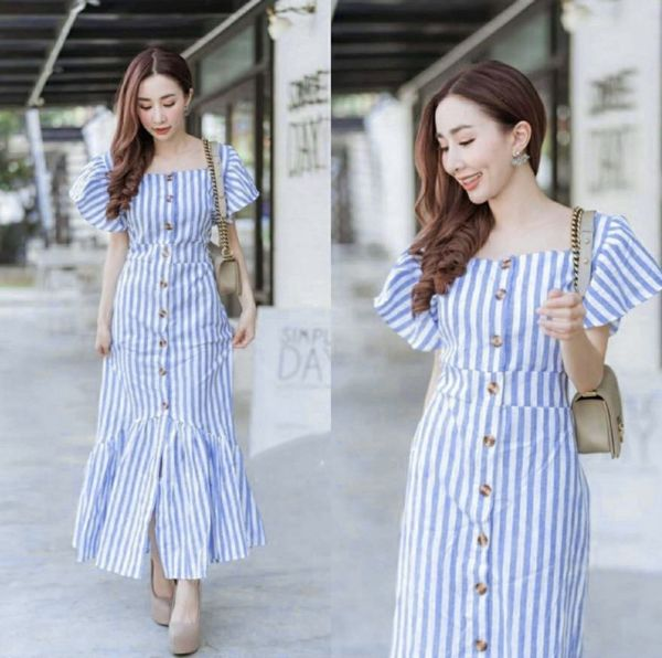 Jual Baju Long Dress Motif Salur Belang Modern