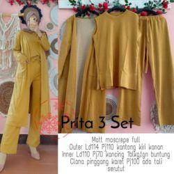 Setelan 3in1 Long Cardigan Inner dan Celana Panjang