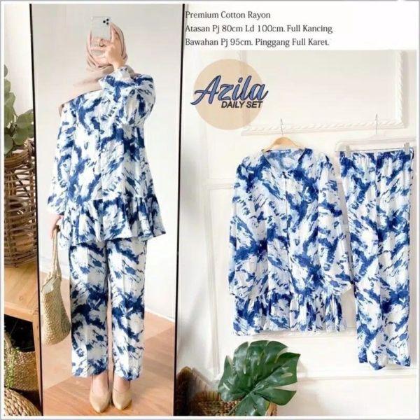 Setelan Baju Piyama Panjang Bahan Rayon Motif Tie Dye