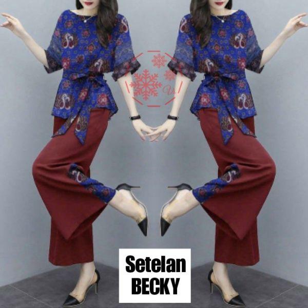 Setelan Baju dan Celana Wanita Kombinasi Batik