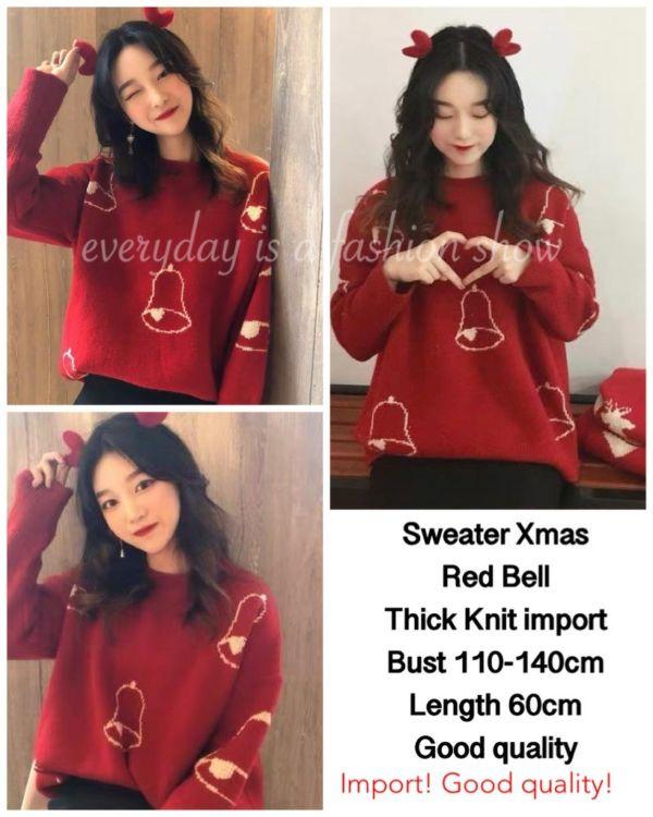 Sweater Christmas Natal Warna Merah Motif Lonceng