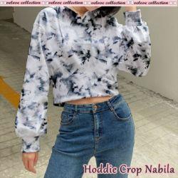 Sweater Hoodie Crop Wanita Motif Tie Dye Modern