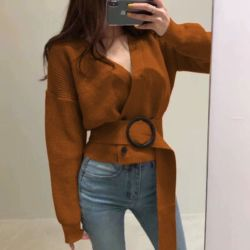 Baju Atasan Blouse Cewek Bahan Rajut Free Belt