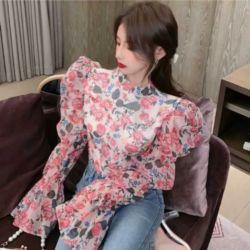 Baju Atasan Wanita Blouse Organza Lengan Ballon