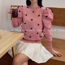 Baju Atasan Wanita Knit Top Pompom Lengan Panjang