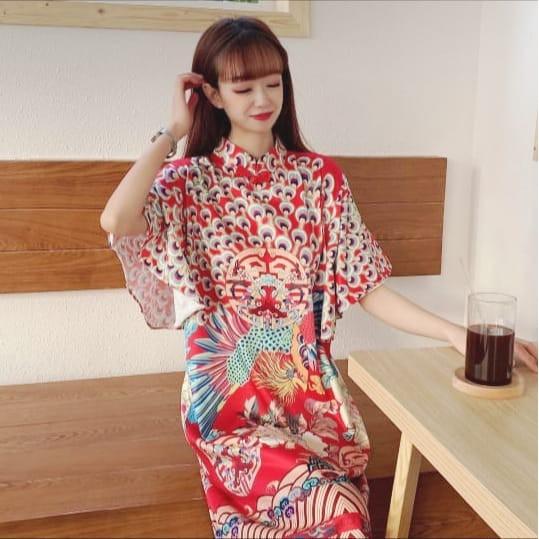 Baju Dress Pendek Cheongsam Tangan Merak Cantik