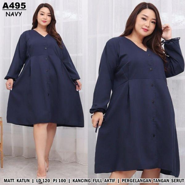 Baju Dress Pendek Lengan Panjang Ukuran Jumbo Big Size