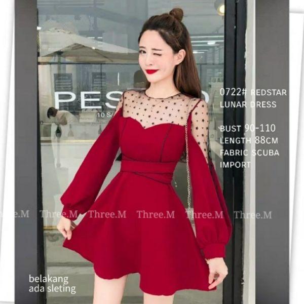 Baju Dress Pesta Warna Merah Cantik Bahan Scuba