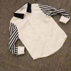 Baju Kemeja Anak Laki-laki Kombinasi Lengan Salur
