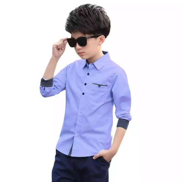 Baju Kemeja / Hem Anak Laki-laki Kombinasi Motif
