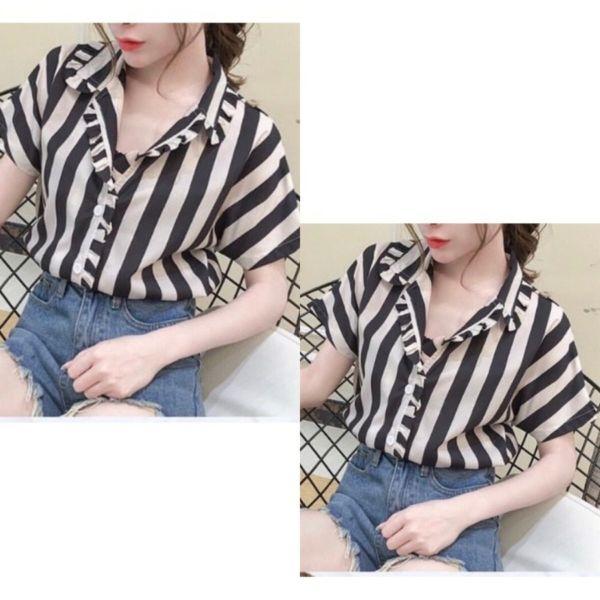 Baju Kemeja Wanita Lengan Pendek Motif Garis-garis