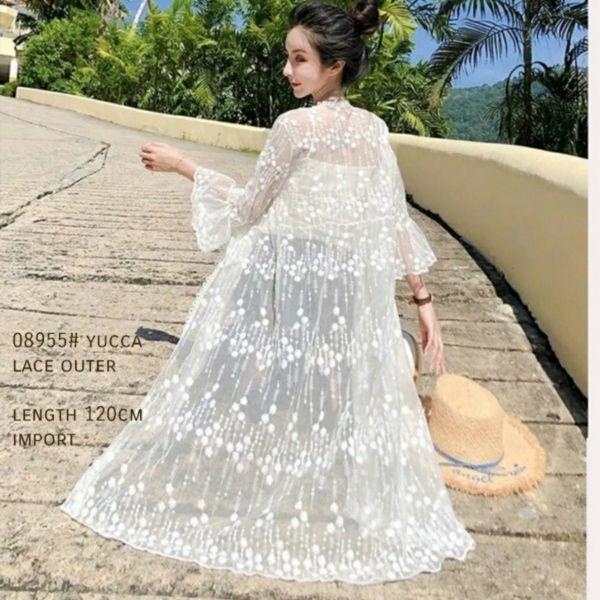 Baju Long Cardigan Outer Lace Modern Cantik
