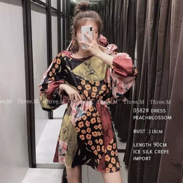 Baju Mini Dress Pendek Motif Bunga Cantik