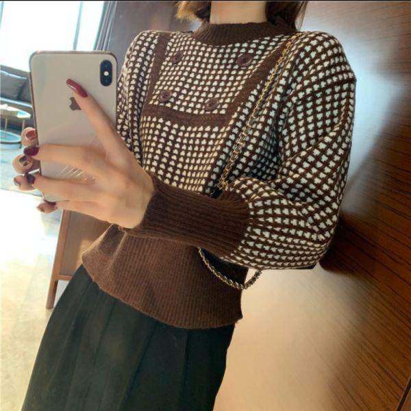 Baju Sweater Crop Model Korea Bahan Knit Rajut