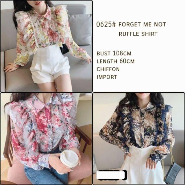 Model Baju Atasan Wanita Ruffle Shirt Lengan Panjang
