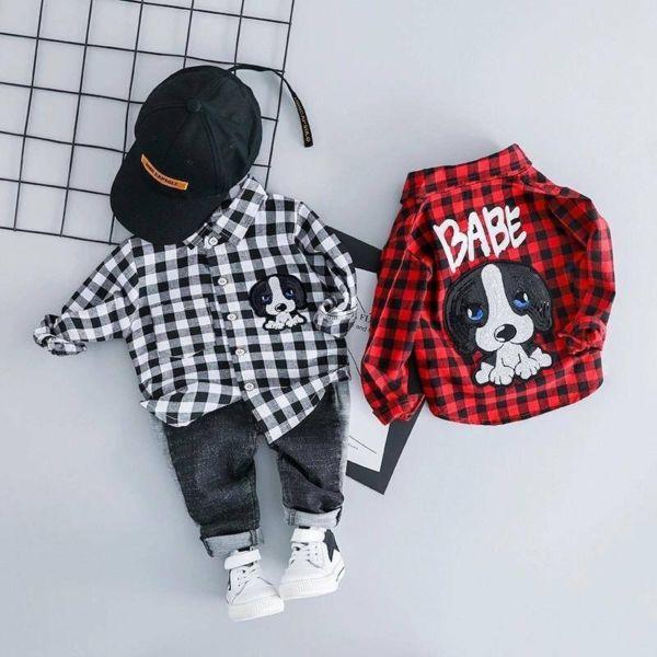 Setelan Baju Kotak dan Celana Panjang Anak Cowok
