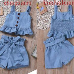 Setelan Baju Yukensi dan Celana Pendek Anak Perempuan