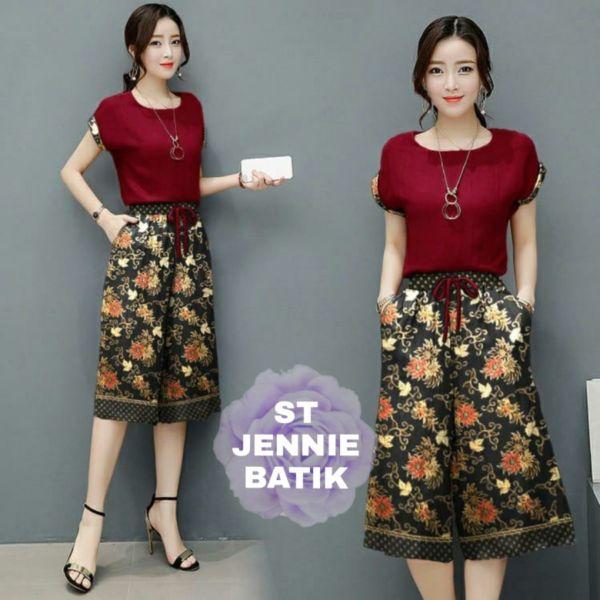 Setelan Baju dan Celana One Set Jennie Batik