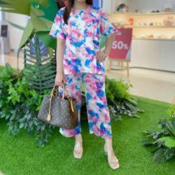 Setelan Baju dan Celana Wanita Motif Tie Dye Jumbo