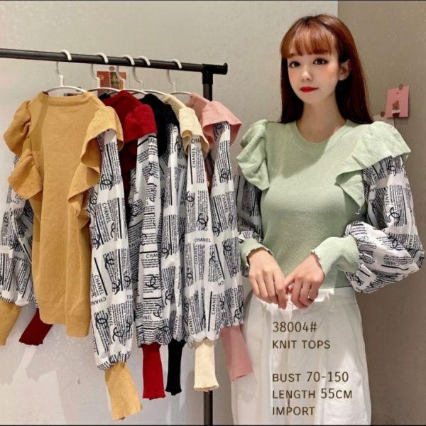 Baju Atasan Wanita Knit Top Rumbai Lengan Panjang