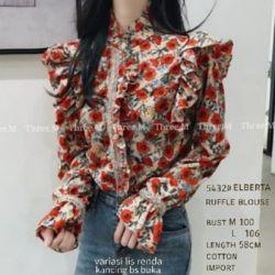 Baju Atasan Wanita Ruffle Blouse Motif Cantik