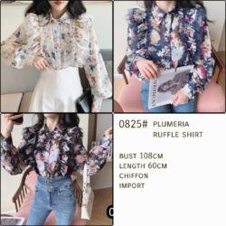 Baju Atasan Wanita Ruffle Shirt Motif Cantik