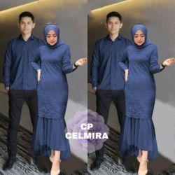 Baju Couple Gamis Brukat Pesta dan Kemeja Panjang