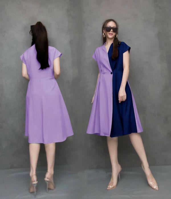 Baju Dress Kombinasi Dua Warna Model Terbaru